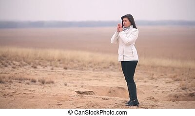 girl woman cold It is in full growth nature Russia autumn...