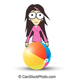 Girl - Woman in Pink Clothes Holding Beach Ball. Vector Summer Portrait Isolated on White Background.