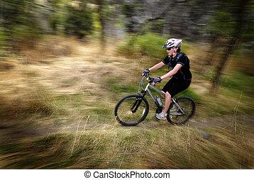 Girl Woman Mountain Biking