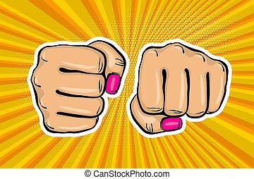 Girl woman power fist pop art style