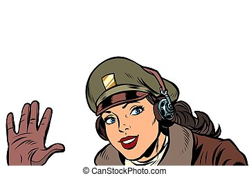 girl woman retro Aviator pilot welcome gesture