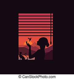 girl woman silhouette with bird fly behind window on sun set freedom beauty concept