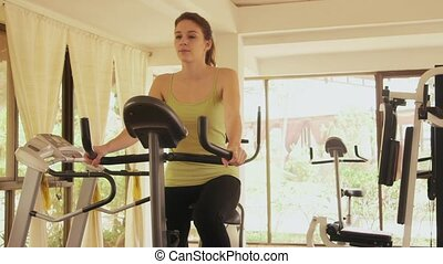 Girl, woman training, sport in gym