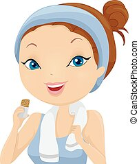 Girl Work Out Snack Bar - Illustration of a Girl Eating a...
