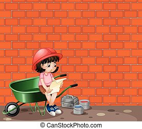 Girl working at the construction site