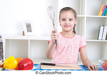 girl working in the kitchen