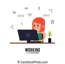 girl Working on laptop design