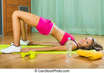 Girl working out indoor