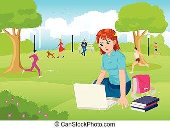 Girl Working With Lap Top