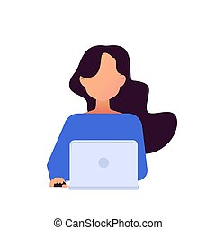 Girl working with laptop in social networks.