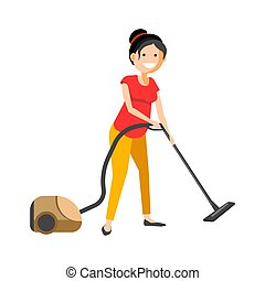 Girl working with vacuum cleaner