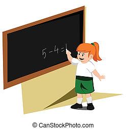 girl write board