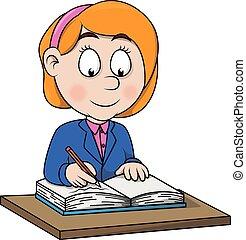 Girl write cartoon illustration