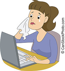 Girl Writer Crying - Illustration of a girl writer crying in...