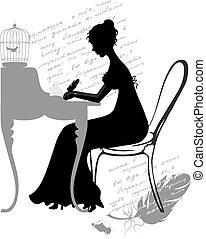 girl writes letter - Vector illustration of young girl...