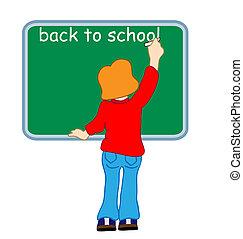 girl writing on a blackboard back to school