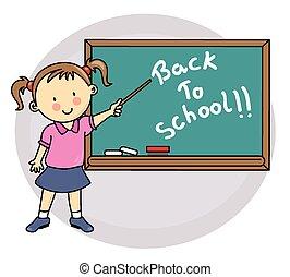 Girl writing on blackboard back to