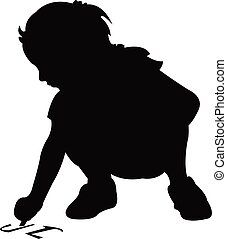 girl writing on floor, silhouette vector