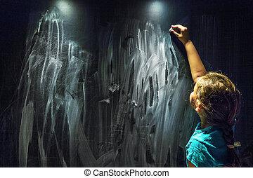 Girl Writing on the Blackboard