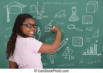 Girl Writing With Chalk On Green Chalkboard
