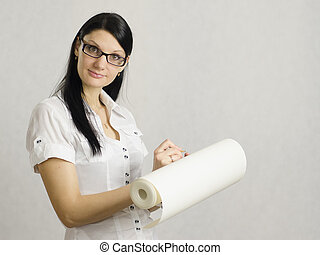girl wrote in pencil on the roll of