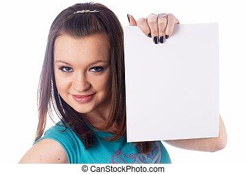 Girl wth blank sheet