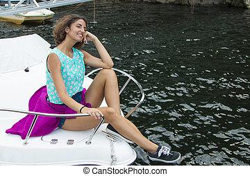 girl, yacht, bains de soleil