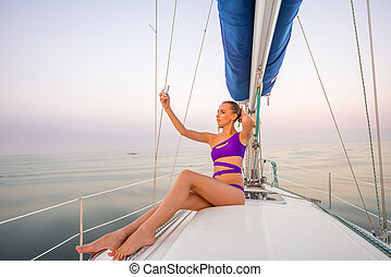 girl, yacht., selfie, marques