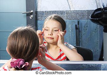 girl, yeux, rétrécissement, miroir