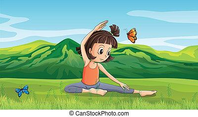 girl, yoga, collines