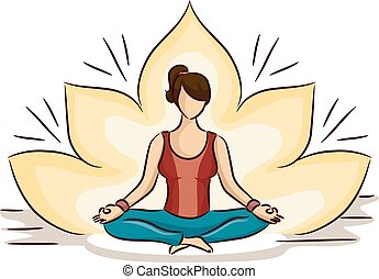 Sketchy Illustration of a Woman Doing the Lotus Position