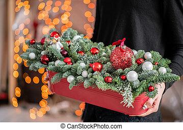 girland, karácsony, gyönyörű, herék, fém, állati tüdő, piros, mood., háttér., csinos, box., karácsony, egyezség, friss, bokeh