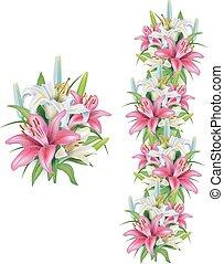 girlanda, o, lilie, květiny