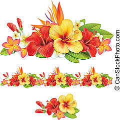 girlande, i, i, tropical blomster