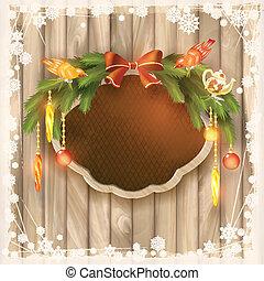 girlande, rahmen, weihnachten, brett, verzierungen, vögel
