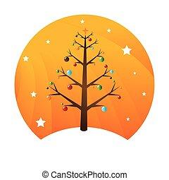 girlanden, kugelförmig, baum, weihnachten, bunte