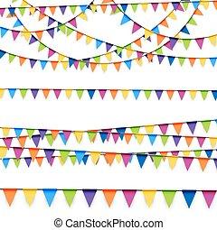 girlanden, party, gefärbt