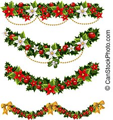 girlanden, stechpalme, 2, weihnachten