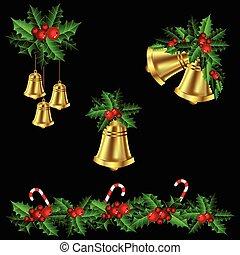 girlanden, stechpalme, grün, weihnachten