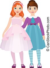 Girlfriend girls in beautiful dresses are hugging