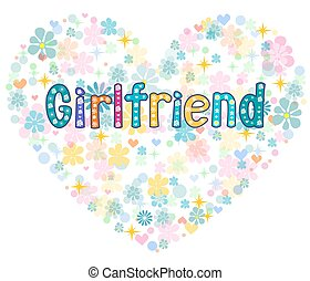Girlfriend . Greeting card . Vector. - Girlfriend in a frame...
