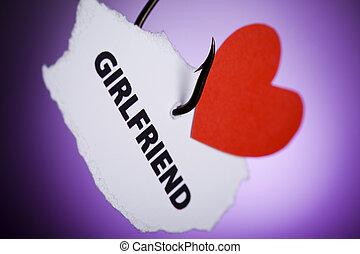 Girlfriend and heart pierced on hook
