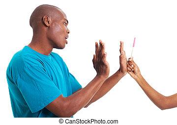 girlfriend's, amerykanka, człowiek, afrykanin, zaprzeczenie, brzemienność