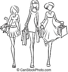 Girlfriends go to the boutique - Vector picture with three ...