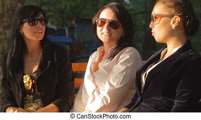 Girlfriends Gossiping - Female friends taking a break on...