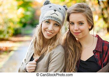 Girlfriends in the autumn
