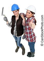 Girlfriends ready for masonry work
