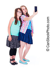 Girlfriends taking a selfie