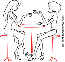 Vector picture with two women sitting at a cafe and drink coffee