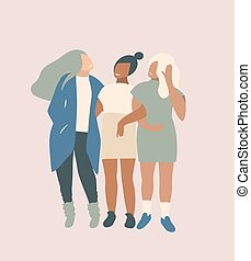 Trendy fashion illustration of three girls friends discussing fashion, contemporary basic people figures vector graphic design.